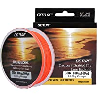 Goture 8 Strands Braided Fly Backing Fishing Line for Trout Bass Pike in The Saltwater Freshwater 20lb 30lb 109yd Orange…