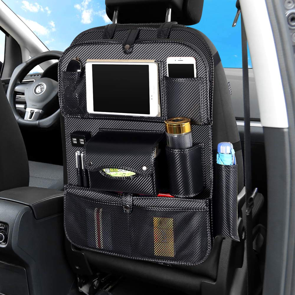 Car Seat Back Protector Kick Mat with 4 USB Charging Port and Foldable Tray,Multiple Durable Pocket to Keep Toys NIANPU Car Backseat Organizer Bottles,for Kids,Toddlers(Black)