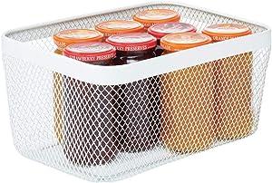 mDesign Farmhouse Decor Metal Wire Food Organizer Storage Bin Basket for Kitchen Cabinets, Pantry, Bathroom, Laundry Room, Closets, Garage - White