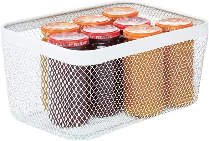 mDesign Caja multiusos de metal de 30,5 cm x 22,9 cm x 15,2 cm – Organizador de cocina, despensa, baño y más – Cesta de almacenaje de alambre, compacta y universal – blanco: Amazon.es: Hogar