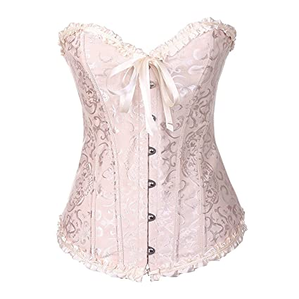 1efdd81f10 Image Unavailable. Image not available for. Color  GQMART Corset Bustier - Sexy  Corselet Women Plus Size Satin Over Bust Embroidered ...