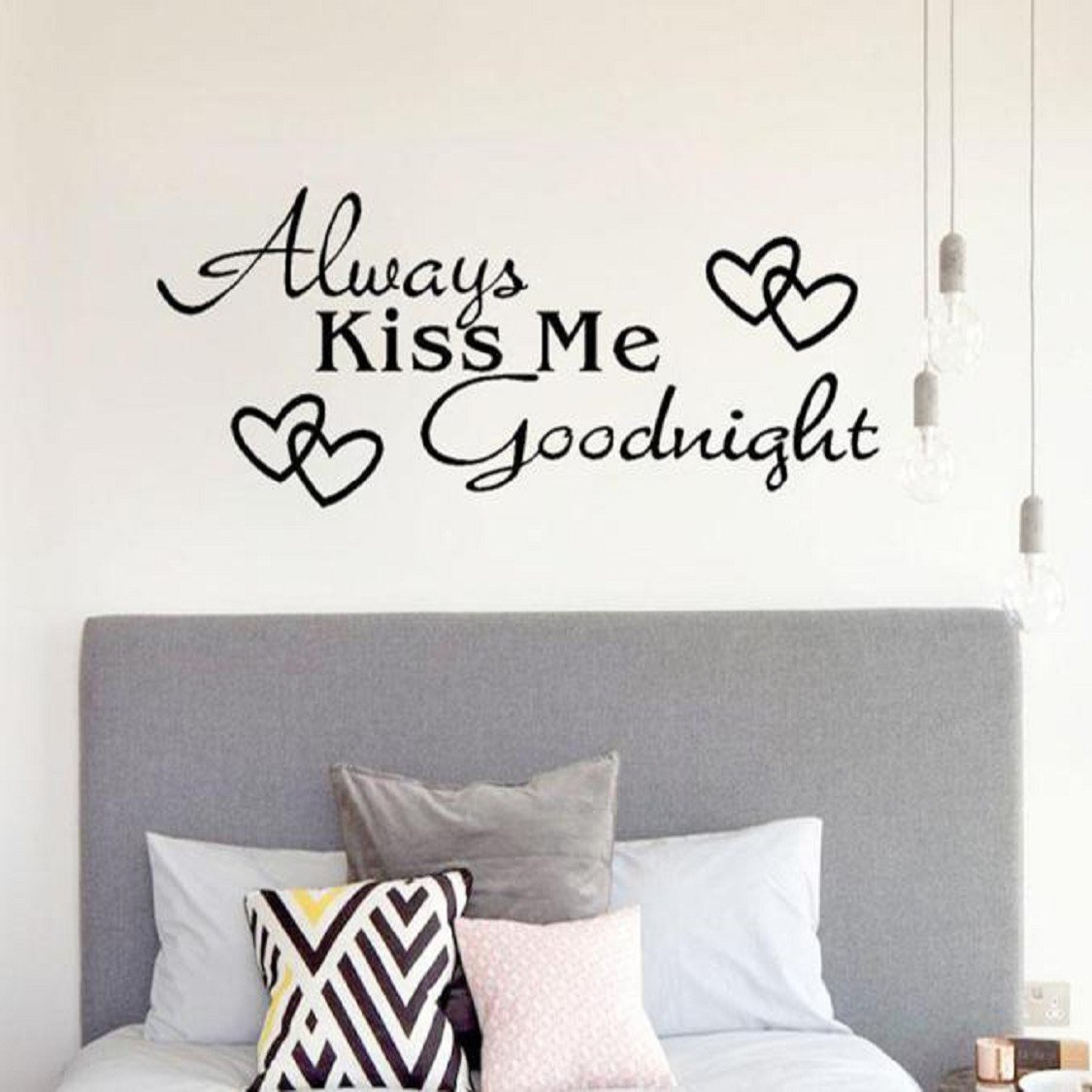 Wall Stickers, Naladoo Always Kiss Me Goodnight Home Decor Wall Sticker Decal Bedroom Vinyl Art Mural IU32566436436