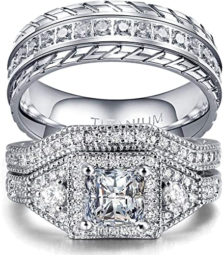 Amazon Com Wedding Ring Set Two Rings His Hers Couples Matching Rings Women S 2pc White Gold Filled Square Cz Wedding Engagement Ring Bridal Sets Men S Titanium Wedding Band Jewelry