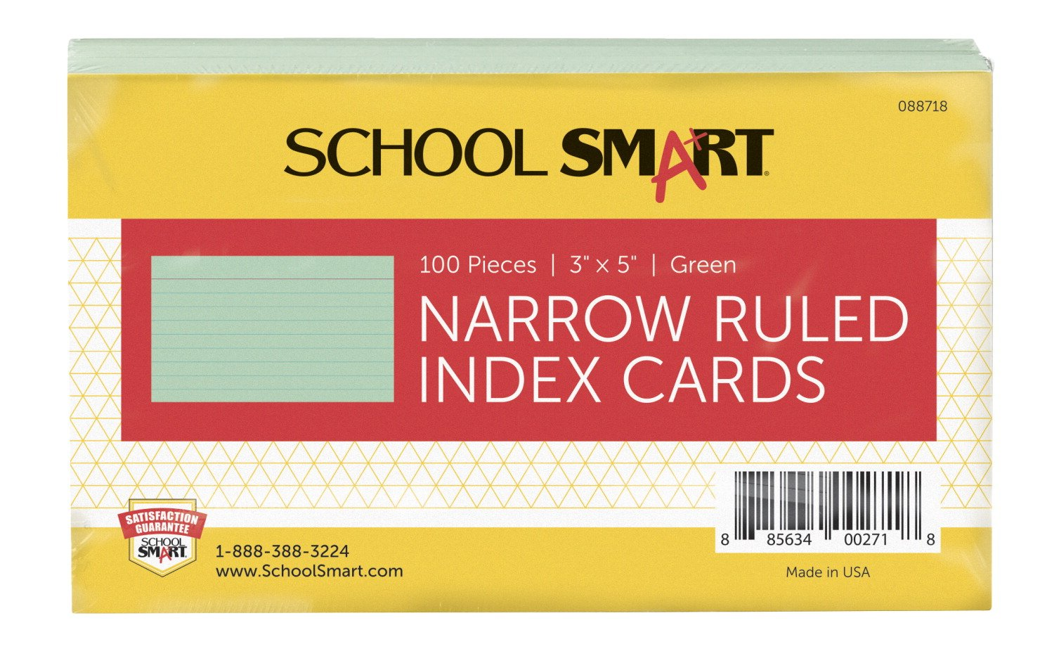 School Smart Heavyweight Ruled Index Cards - 3 x 5 inches - Pack of 100 - Green