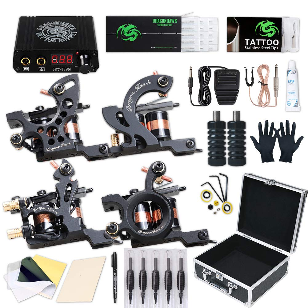 Dragonhawk Complete Tattoo Kit, 4 Craft Coils Tattoo Machines Gun, Tattoo Power Supply Needles Foot Pedal Grips, Tattoo Kit with Case by Dragon Hawk