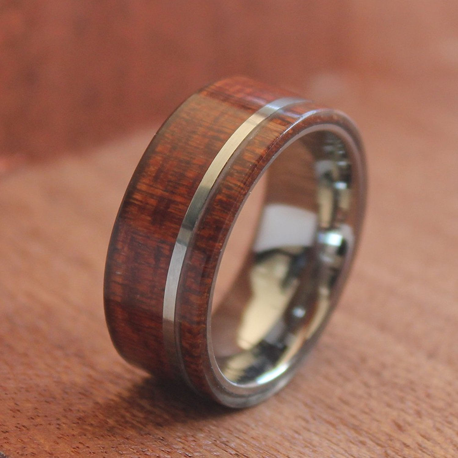 Will Queen Hawaii Koa Wood Inlay Men s Tungsten Wedding Bands with