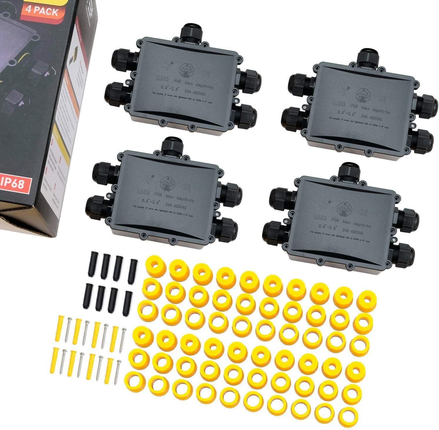 2x Kabelverbinder wasserdichte Verteilerdose für Erdkabel 1.0-2.5 mm² 450V  IP68