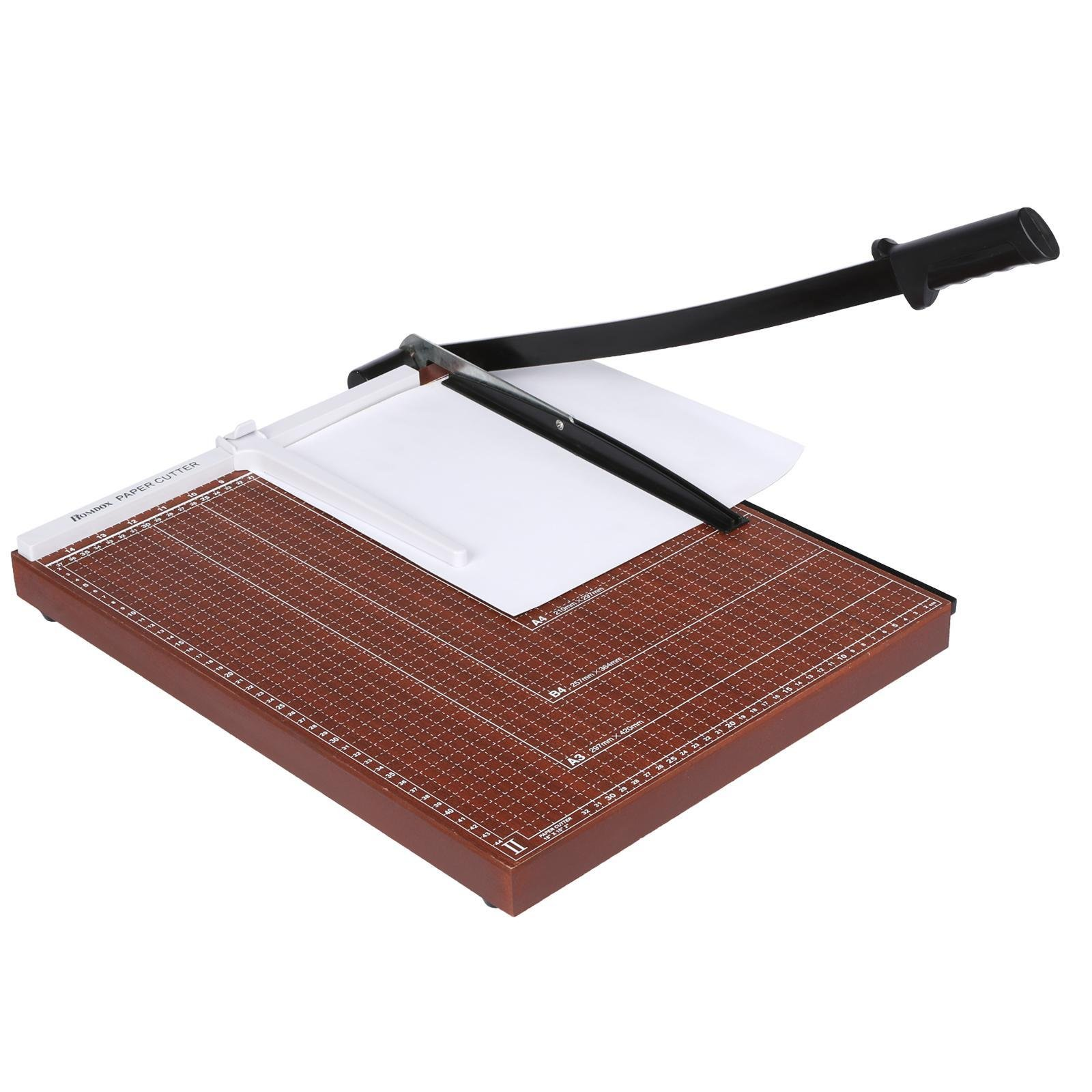 PEATAO A2-B7 Professional Paper Cutter Wood Base Guillotine Paper Trimmer for Home Office Red 12.7 x 9.9 x 1.2inch