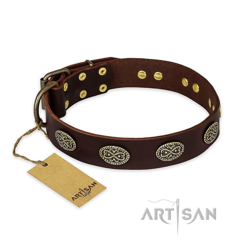 Fdt Artisan Marroneee in pelle collare –  Fancy Brooches – esclusiva artigianale item – 1 1 2 inch (40 mm) di larghezza – Scatola regalo inclusa