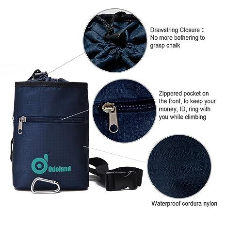 Bolsa de magnesio, Odoland® superiores de la calidad Dos bolsillos con cremallera impermeable para la escalada, pesas, gimnasia de peñascos y con cordón de ...
