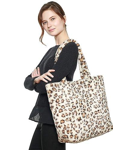 dcfa5e91c432 Amazon.com  Leopard Print Oversize Plush Faux Fur Tote Bag Purse  Shoes