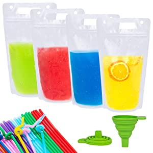 50 Pcs Hand-held Drink Pouches, Reusable no Leak Juice Bags Smoothie Plastic Drink Bags, 17oz Reclosable Zipper Juice Pouches for Cold & Hot Drinks with 50 Straws & Silicone Funnel
