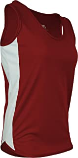 product image for PT-980W-CB Women's Single Ply Light Weight Dash Track Singlet-Odor Resistant (X-Small, Red/White/Red)