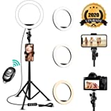 8'' Selfie Ring Light with Adjustable Tripod Stand - Upgraded Dimmable Camera Ring Light with Phone Holder for TikTok…