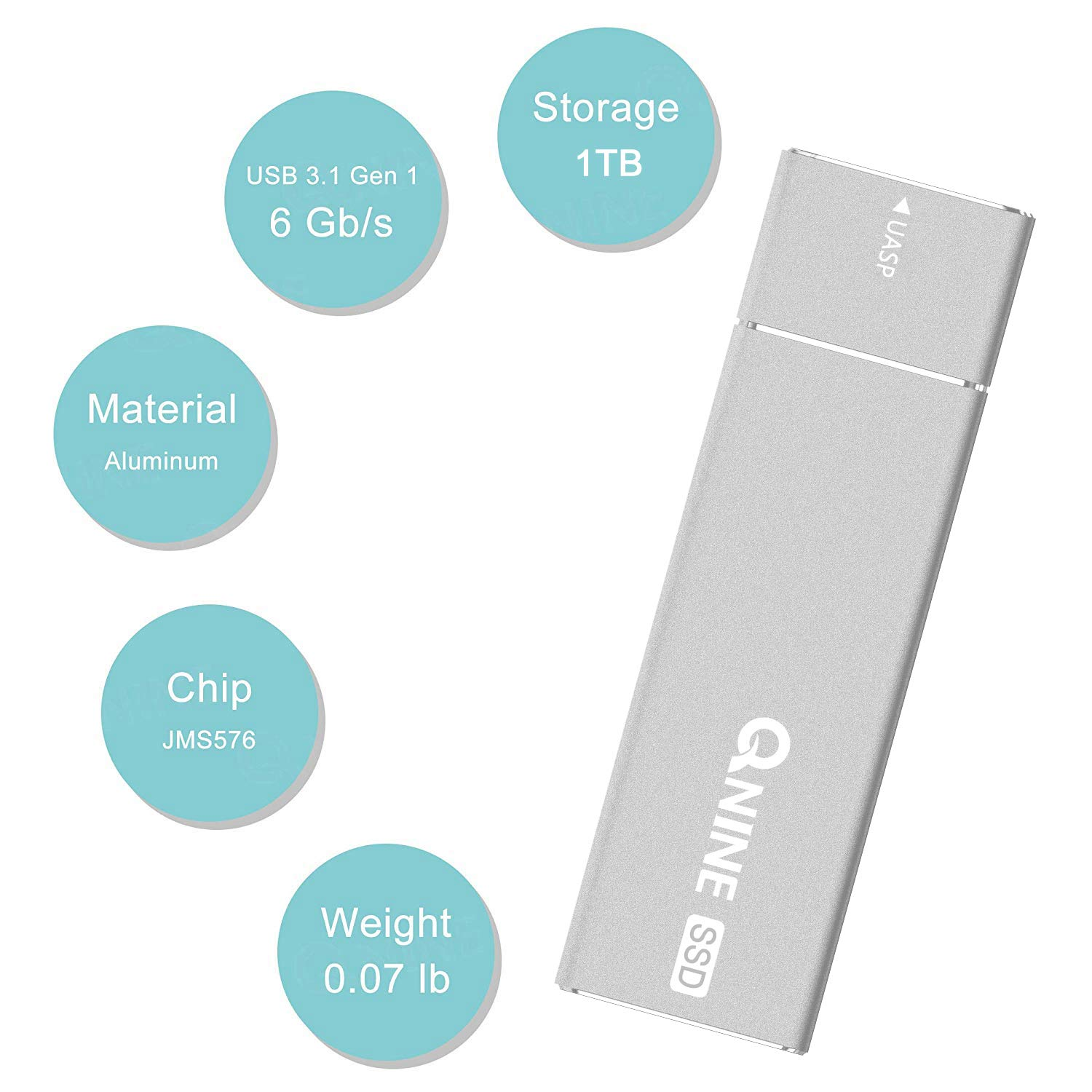 QNINE External SSD Hard Drive 1 TB (1.1 oz Weight), Portable SSD USB C for MacBook, USB 3.1 High Speed External SSD for Laptop, Xbox One X, etc by QNINE (Image #2)