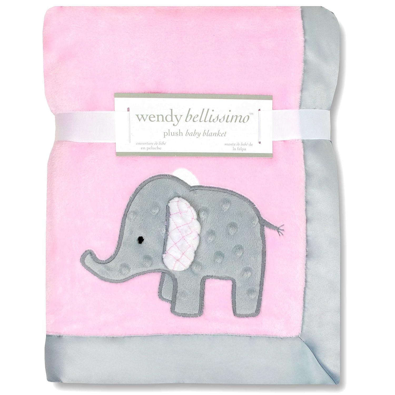 Wendy Bellissimo Mix & Match Elephant Applique Plush Blanket, Pink