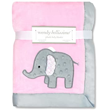 Wendy Bellissimo Mix & Match Elephant Applique Plush Blanket, ...