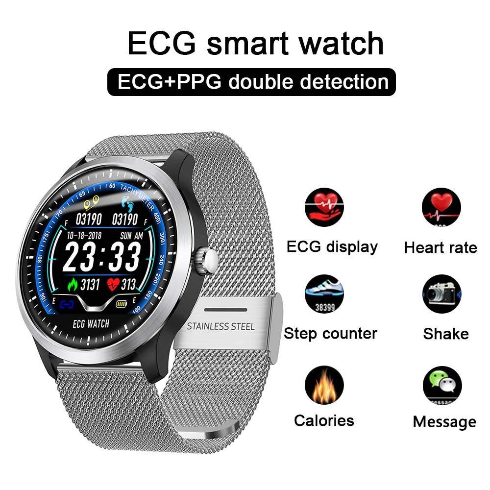 LUCKSTAR ECG+PPG ECG Smart Watch,Color Screen ECG Smart Bracelet,IP67 Waterproof Men Women Sports Bracelet Watch, Measuring ECG Blood Pressure Heart Rate Monitoring Smartwatch Bracelet (Silver Steel) by LUCKSTAR