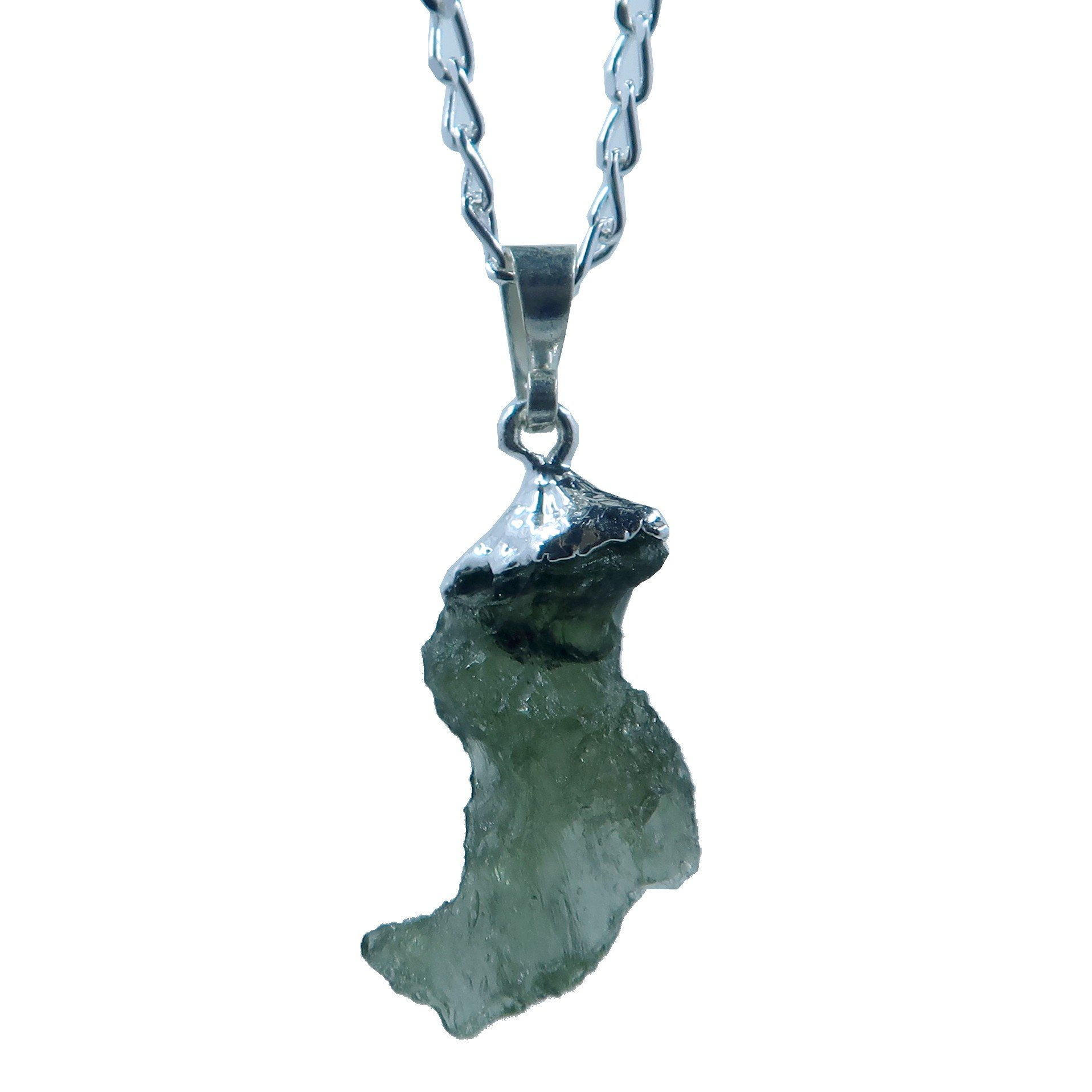 SatinCrystals Moldavite Necklace Boutique Genuine High Vibration Meteorite Green Stone Sterling Silver Raw Space Boot B09 (16'')