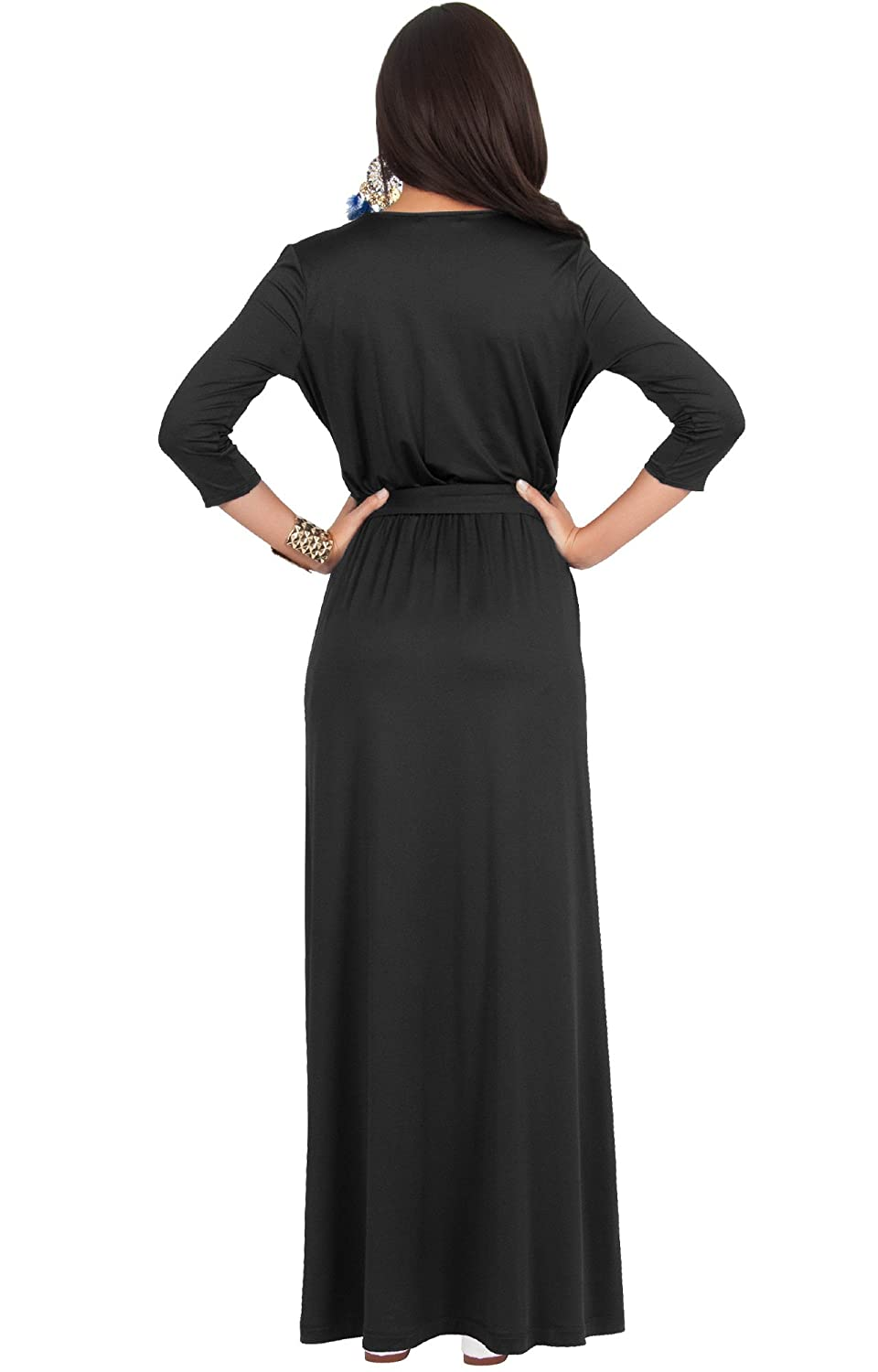 3f7e86fa24b23 KOH KOH Womens Long Sleeve Casual Cocktail Flowy V-Neck Gown Maxi Dress at Amazon  Women's Clothing store: