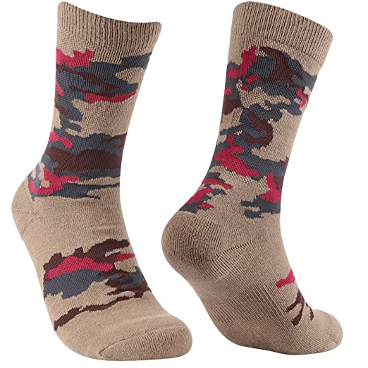 1//2//3 Pairs RTZAT Outdoor Hiking Camouflage Cotton Crew Socks for Men and Women