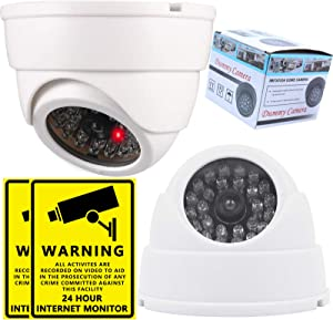 Fake Camera,Kammoy Dummy Fake Security CCTV Dome Camera with Flashing Red LED Light (Include Video Surveillance Sign Sticker), 360° Fake Security Camera for Home Security,Outdoor Indoor Use (2PC)