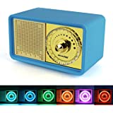 Reacher Rechargeable Bookshelf Bluetooth Speakers with Color Changeable Night Light,Easy Volume Controller, Micro SD Card Reader, AUX Line-in, USB driver, Mic, Classic Retro 7W Audio Driver(Blue)
