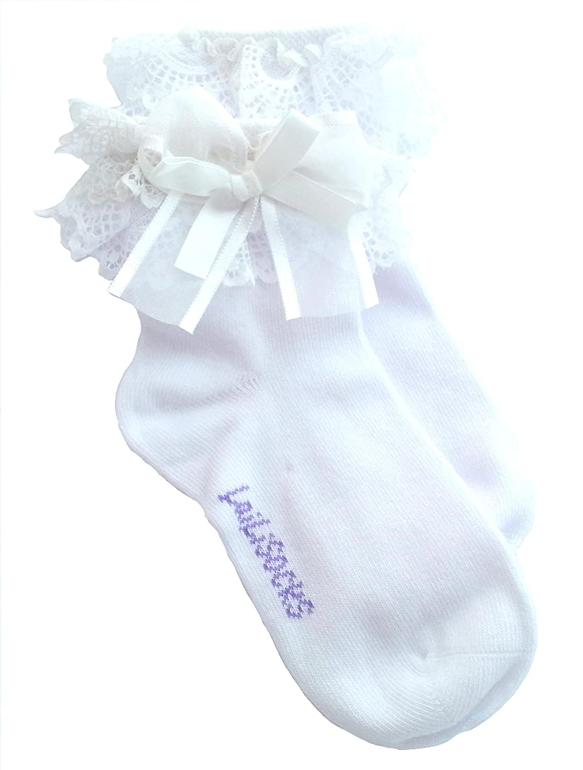 Baby/Girl Pack of 2 WHITE Super Soft Lace Frilly Ankle Socks Age 1 2 3 4 5 6 7