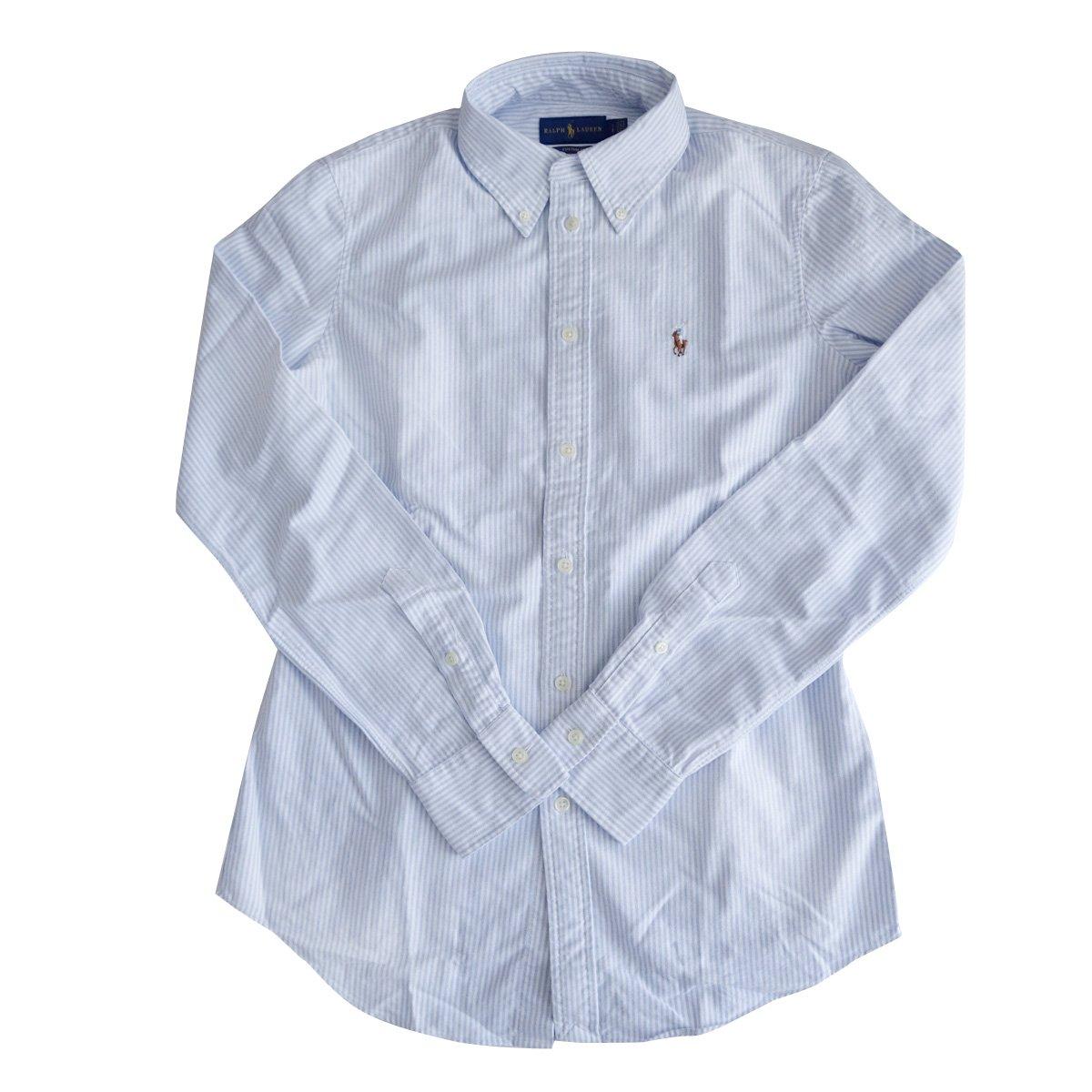 (ポロ ラルフローレン) POLO Ralph Lauren 長袖 シャツ ワンポイント ワイシャツ レディース オックスフォード [並行輸入品] B07BQXHJHM S|ライトブルー/ホワイト ライトブルー/ホワイト S