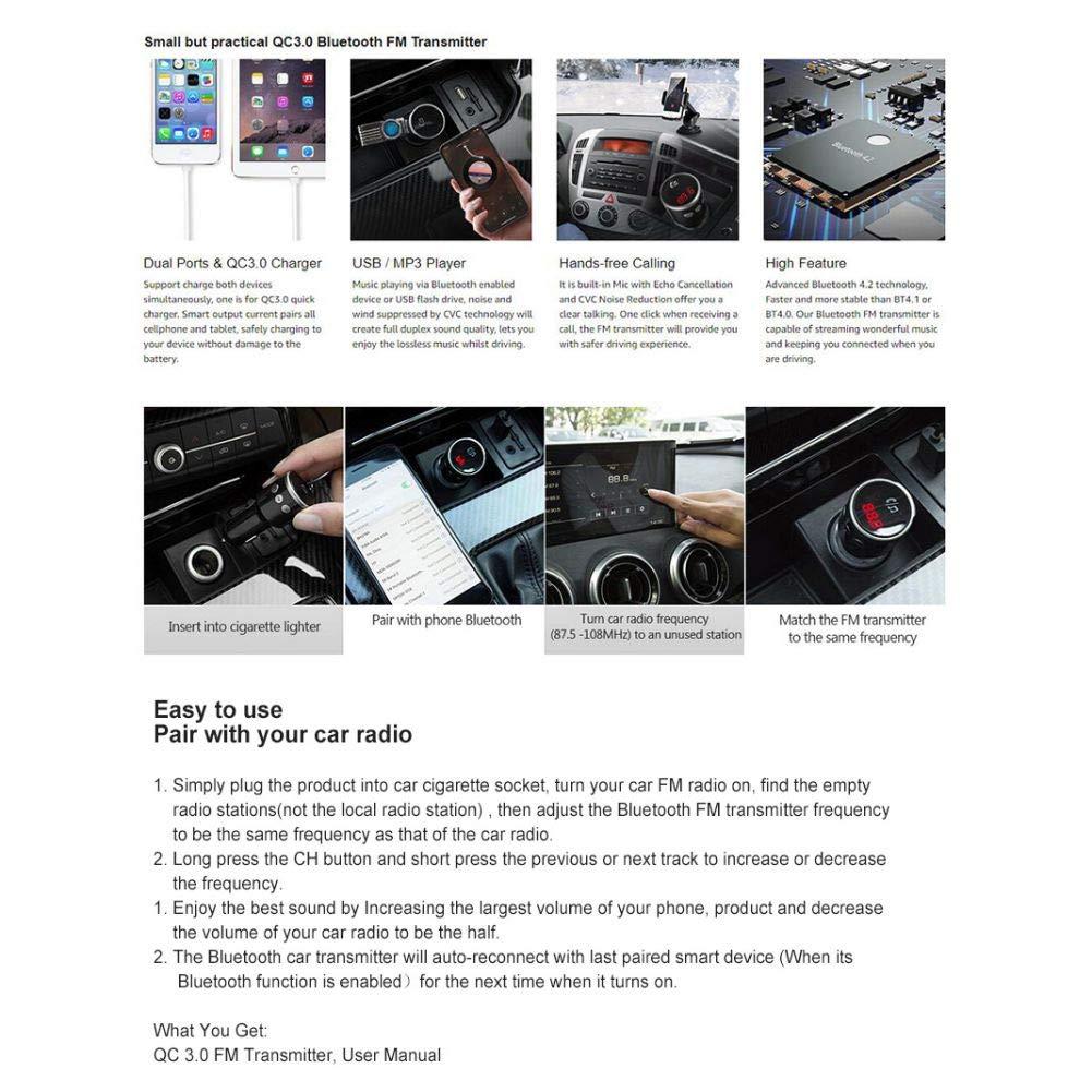 Iswell QC3.0 Adaptador inal/ámbrico de transmisor de Radio FM con Puertos USB duales Cargador Llamada Manos Libres Kit para Auto Reproductor de MP3 para Coche Bluetooth USB Dual Carga r/ápida