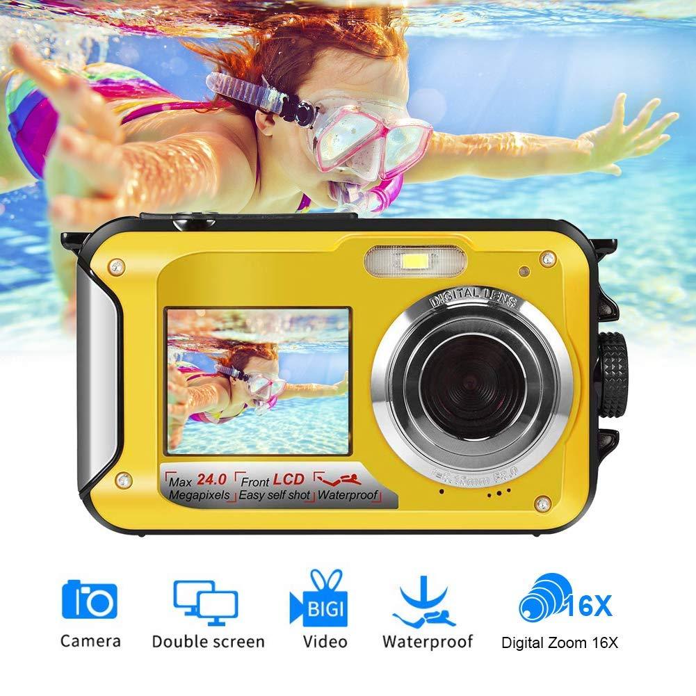 Waterproof Camera Underwater Camera for Snorkeling Full HD 1080P 24.0 MP Waterproof Point and Shoot Digital Camera Dual Screen Action Camera