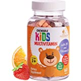 Kids Multivitamin Chewable Tablet - Complete Multi Supplement for Immune Support - Made in USA - Daily Children's Vitamin wit