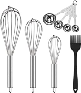 """Ouddy 5 Pack Stainless Steel Whisk Set, 8""""+10""""+12"""" Wire Whisk Kitchen Wisks for Cooking with Stainless Steel Measuring Scoop Set & Cooking Brush for Blending, Whisking, Beating and Stirring"""