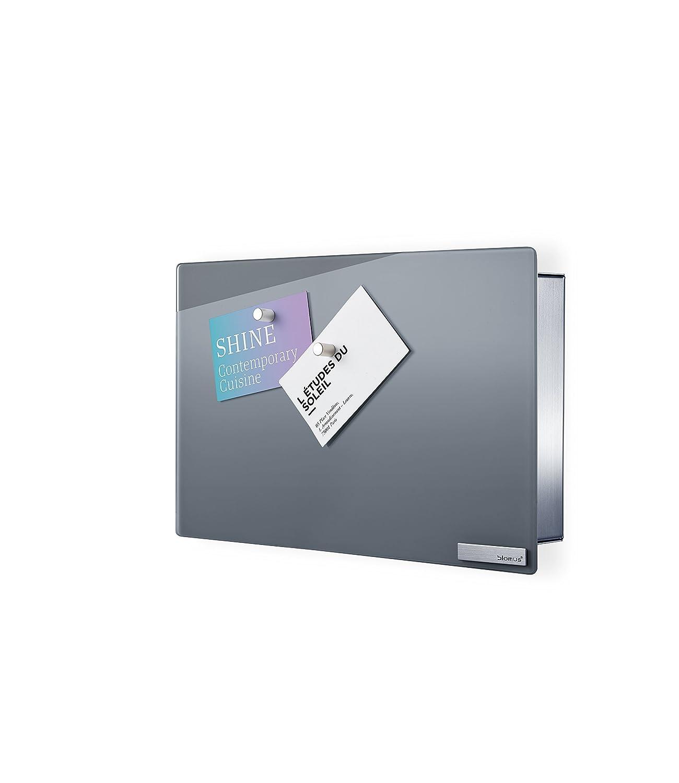 Blomus 65365, Cassetta portachiavi/Pannello magnetico in vetro Velio, Grigio (Grau)