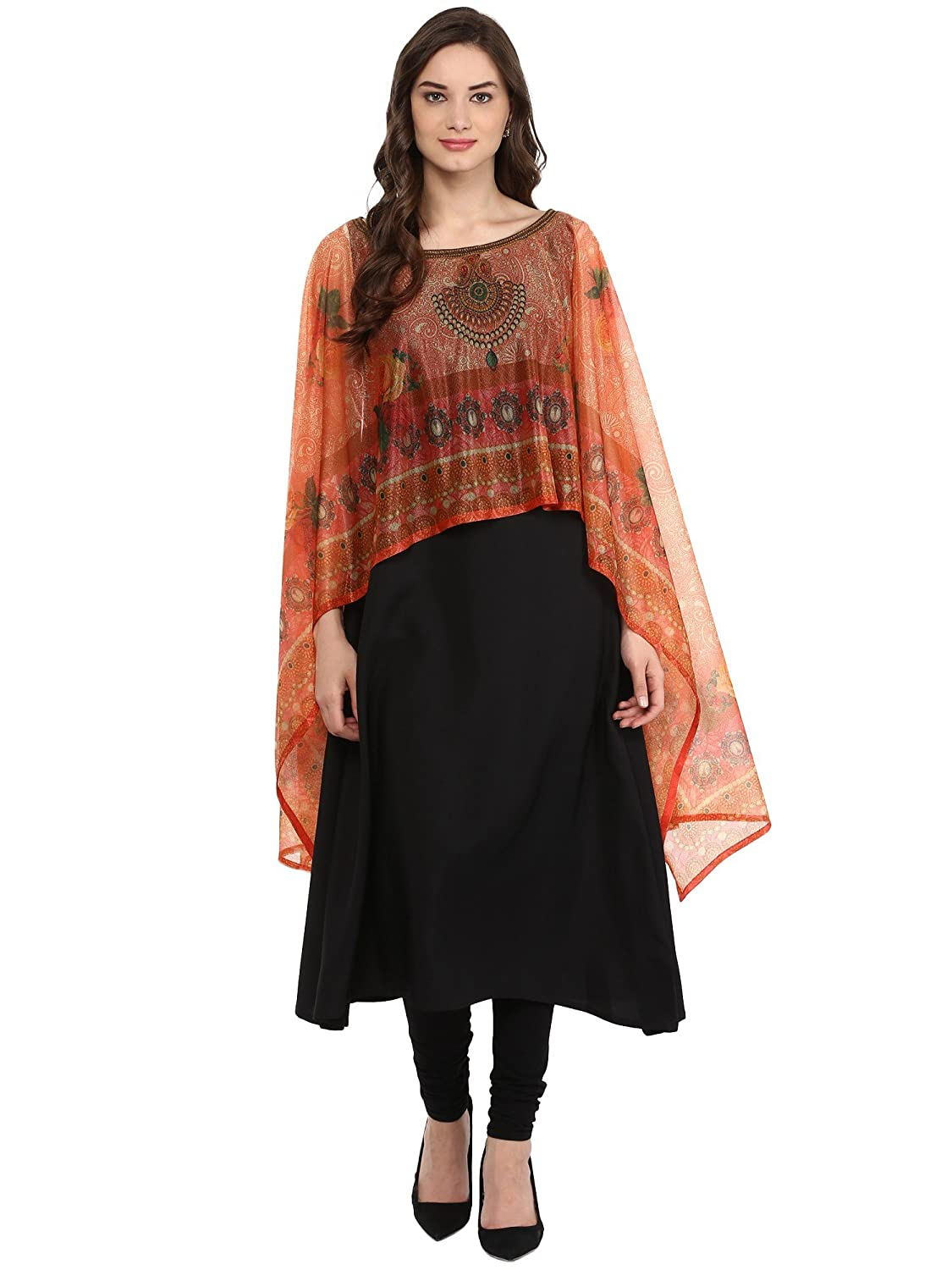 5e152d1959f AHALYAA Women s Crepe A-Line Kurti (Black)  Amazon.in  Clothing    Accessories