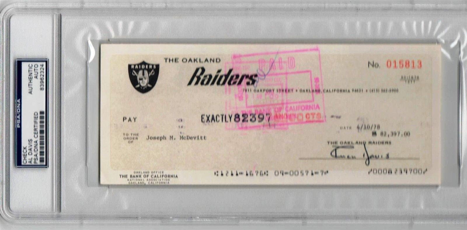 Al Davis Raiders HOF Owner Legend signed Check PSA/DNA Slabbed