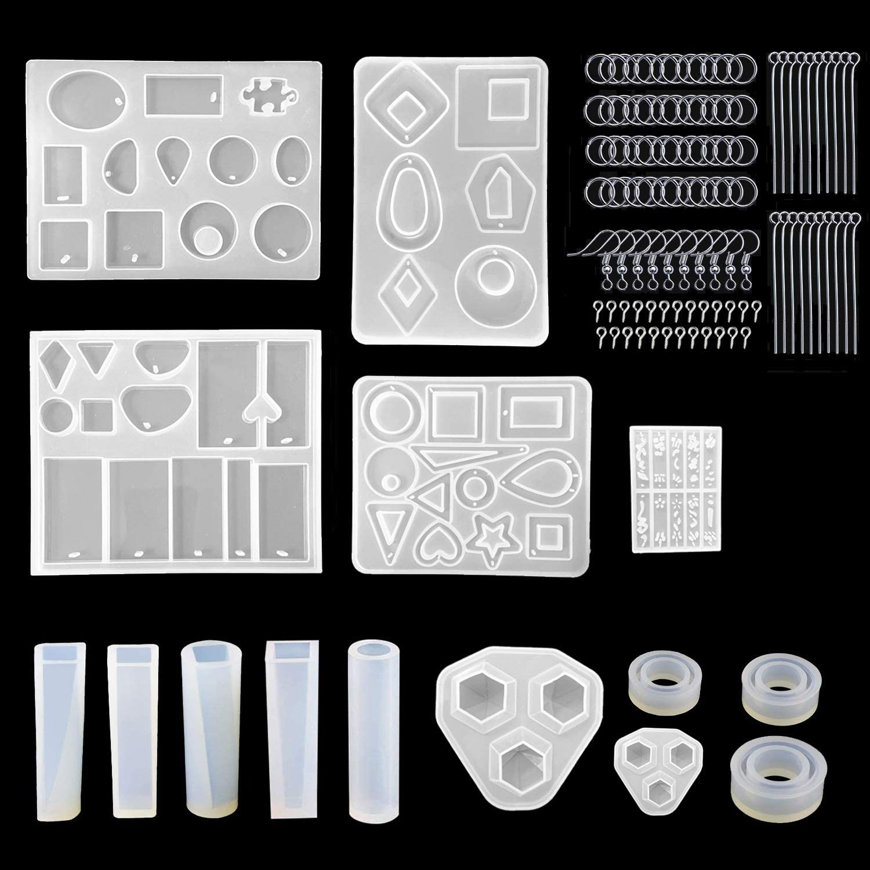 Tergoo 45Pcs Bezel Pendant Trays Set /& Open Pendants Charms Resin Molds for Jewelry Making DIY Crafts