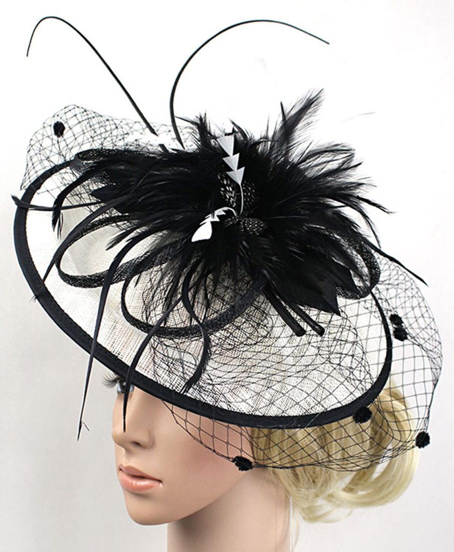 Z&X Fascinator with Headband Derby Party Feather Floral Mesh Pillbox Hat Black by Z&X (Image #4)