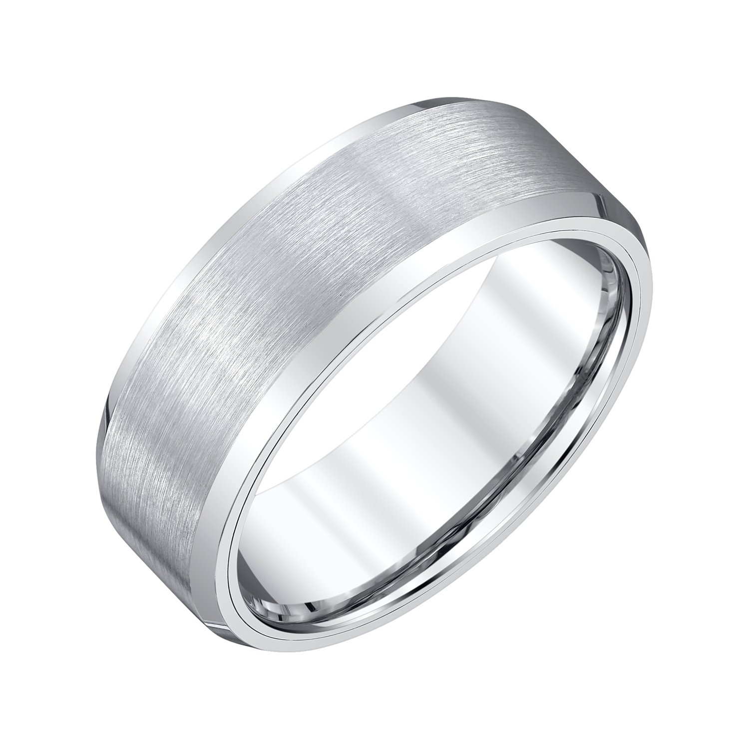AX Jewelry Mens 8mm White Tungsten Band Satin Finish