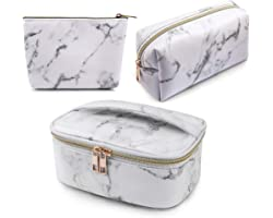 MAGEFY 3Pcs Makeup Bags Portable Travel Cosmetic Bag Waterproof Organizer Multifunction Case with Gold Zipper Marble Toiletry