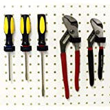 Wallpeg Tool Organizer – Pegboard Organizer Box Style Peg Hooks 50 Black Flex-Lock Pegboard Hooks - AM-106 B
