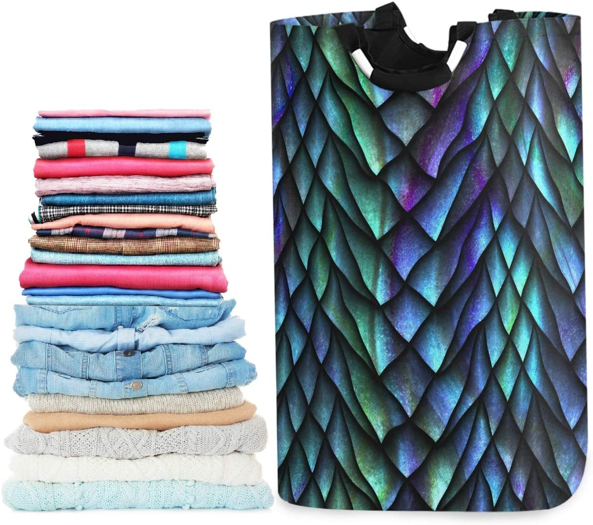 visesunny Collapsible Laundry Basket Cool Dragon Scale 3D Print Large Laundry Hamper Oxford Fabric Dirty Clothes Toy Organizer with Handle for Bathroom Bedroom Kids Room Dorm