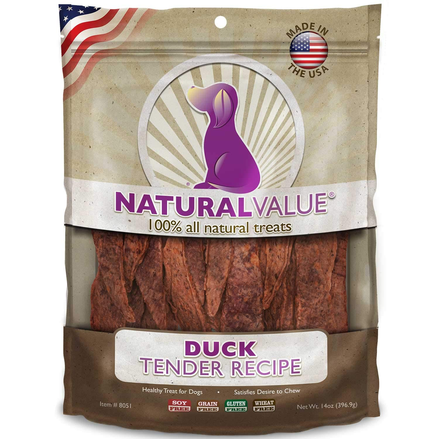 Loving Pets Natural Value All Natural Soft Chew Duck Tenders for Dogs, 14-Ounce