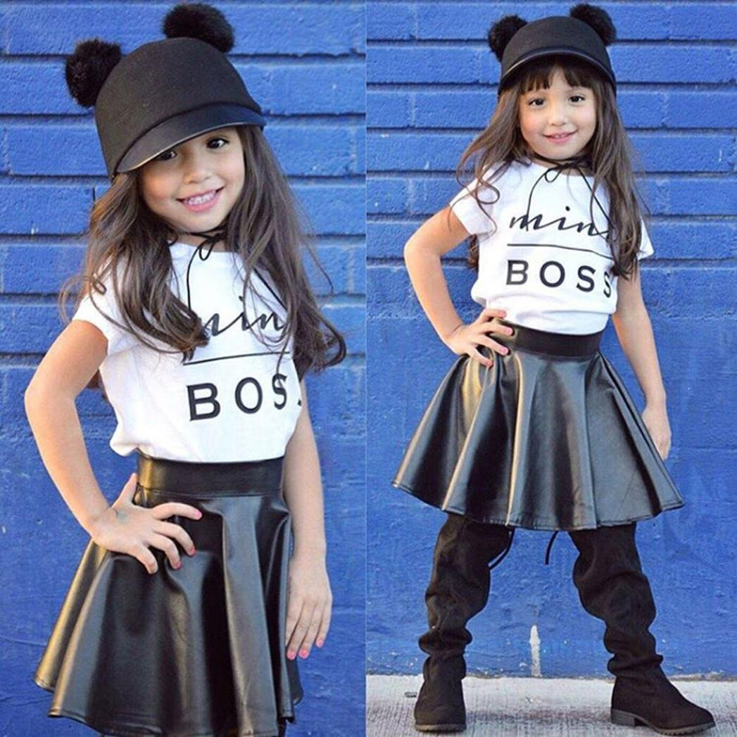 Tutu Gauffer Skirt FORESTIME/_baby clothes girl FORESTIME Infant Newborn Baby Girls Mini Boss Print Short Sleeves T-Shirt