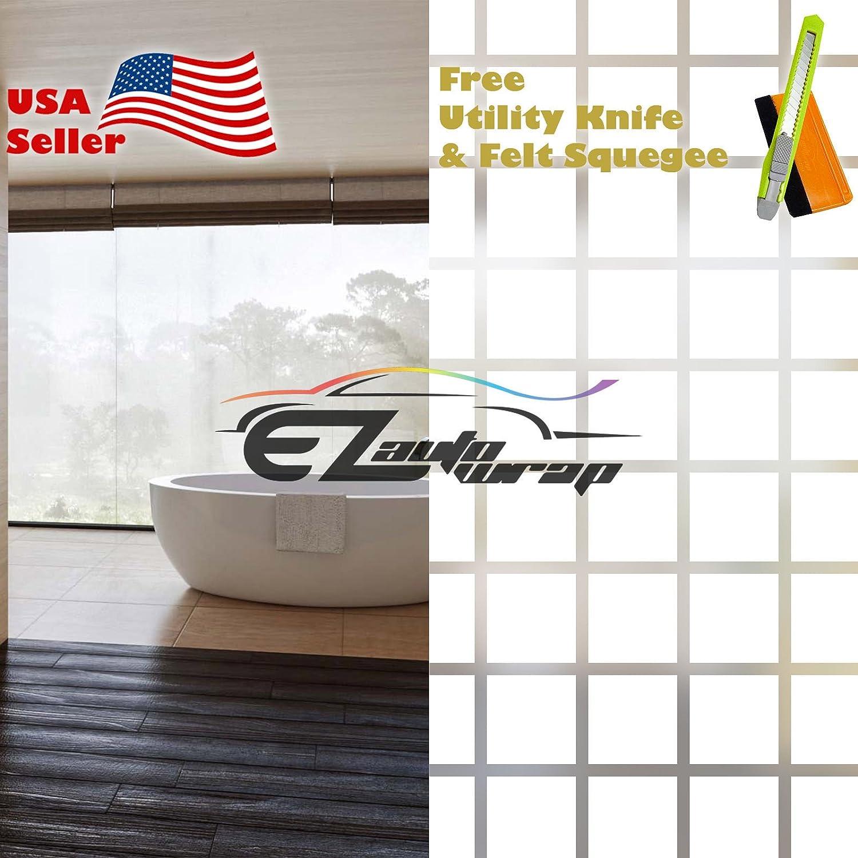 無料ツールキットezautowrap Squareチェッカー曇りガラスPeel and Stickウィンドウフィルムホームベッドルームバスルームプライバシー防水ステッカーデカール 36