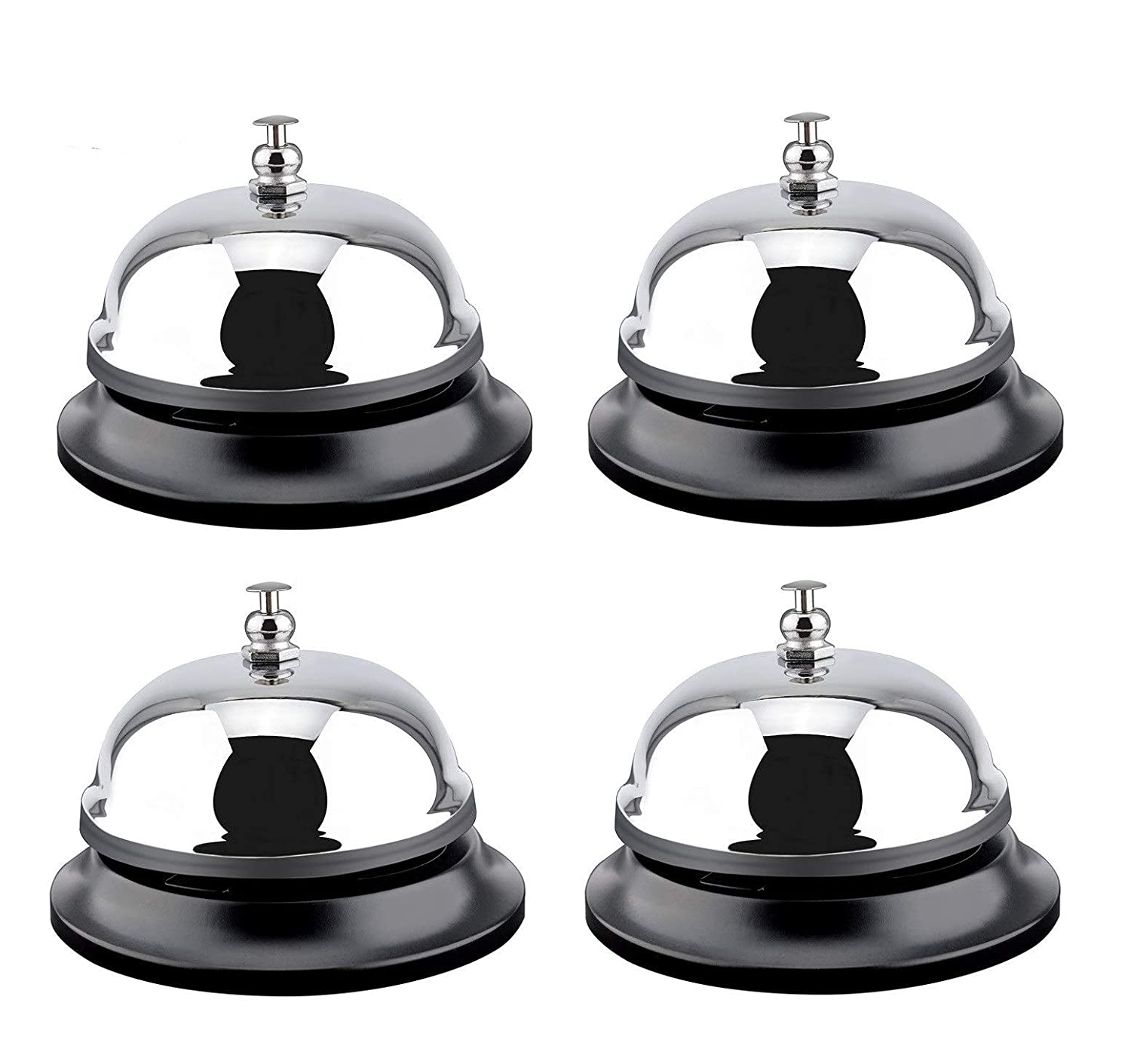 Desk Bell Service Bell for Hotels Reception Areas 4 Count Call Bells 3.3 inch Diameter All-Metal Construction Hospitals Restaurants Schools Chrome Finish Warehouses