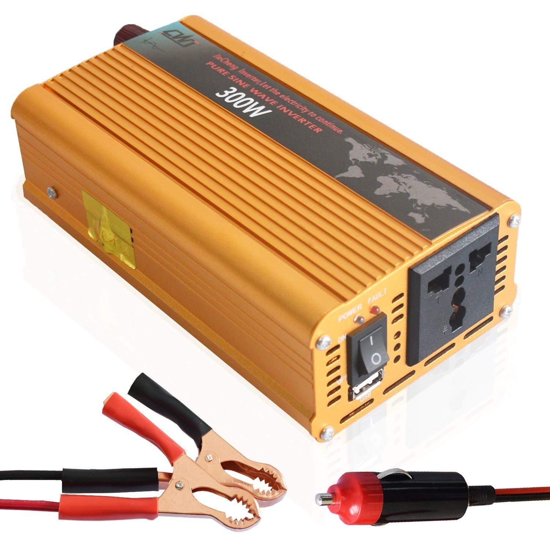 Tellunow Convertisseur de Puissance 300W 12V DC à 220V Convertisseur 230V AC Onde sinusoïdale Pure Solar avec C'est pour l'extérieur, à la Maison à la Maison