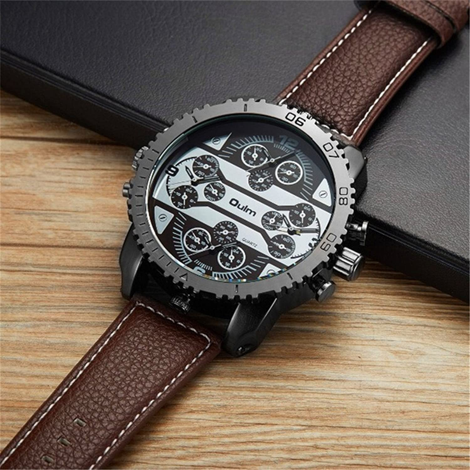Amazon.com: Big Dial Oulm Watches Male Watch Montres de Marque de Luxe Relojes Lujo Marcas Men Military Army Clock Erkek Saat 4 Time Zone: Watches