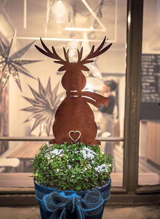 Hauteur 38 cm env. m/étal Aspect rouill/é Pureday D/écoration de No/ël en Forme d/élan /à Planter dans Le Jardin