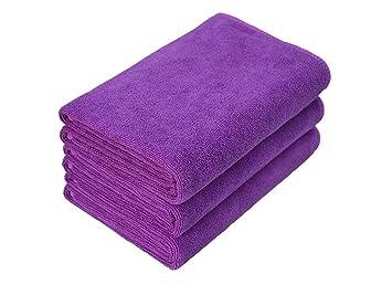mylsmple microfibra Toallas gimnasio toallas toalla de secado rápido deportes Camping (3 unidades 40 cm x80 cm, Pupple: Amazon.es: Deportes y aire libre